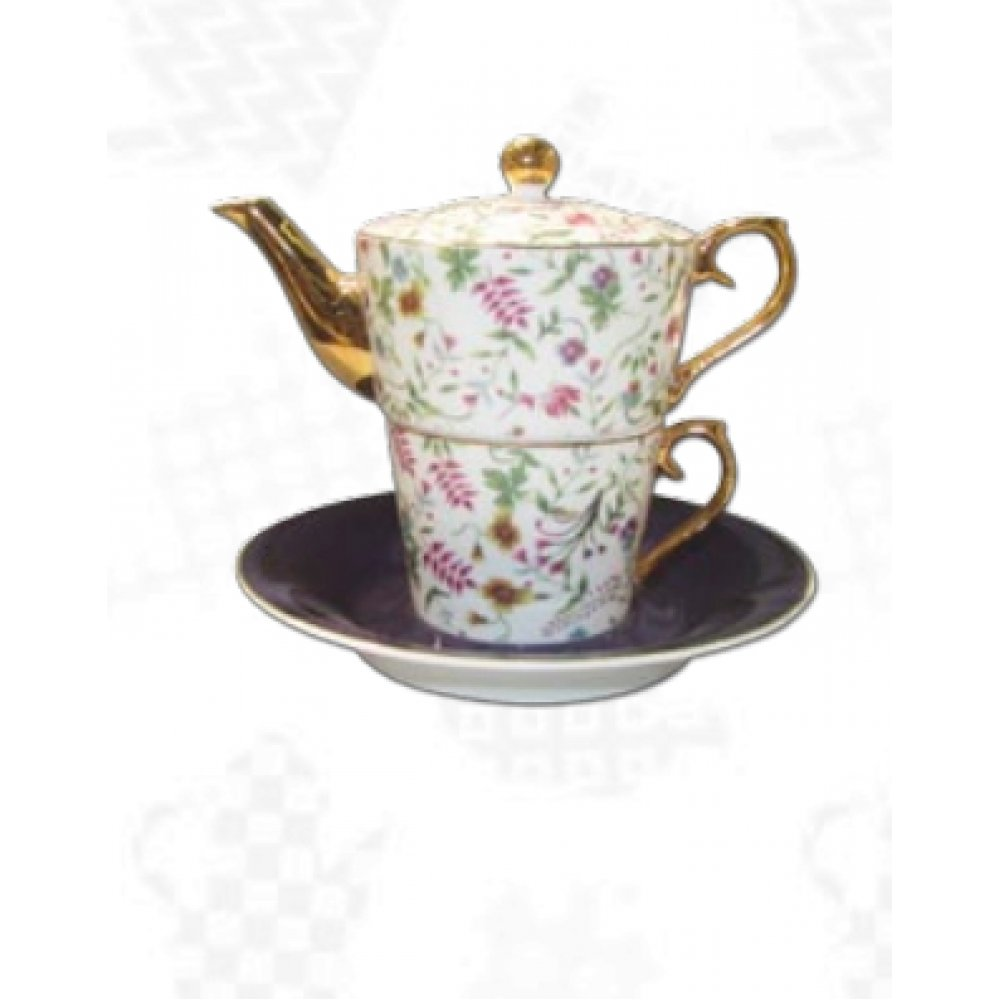 """Ceainic cu cana Tea for One colectia """"Pink Flowers"""" Gold Collection"""