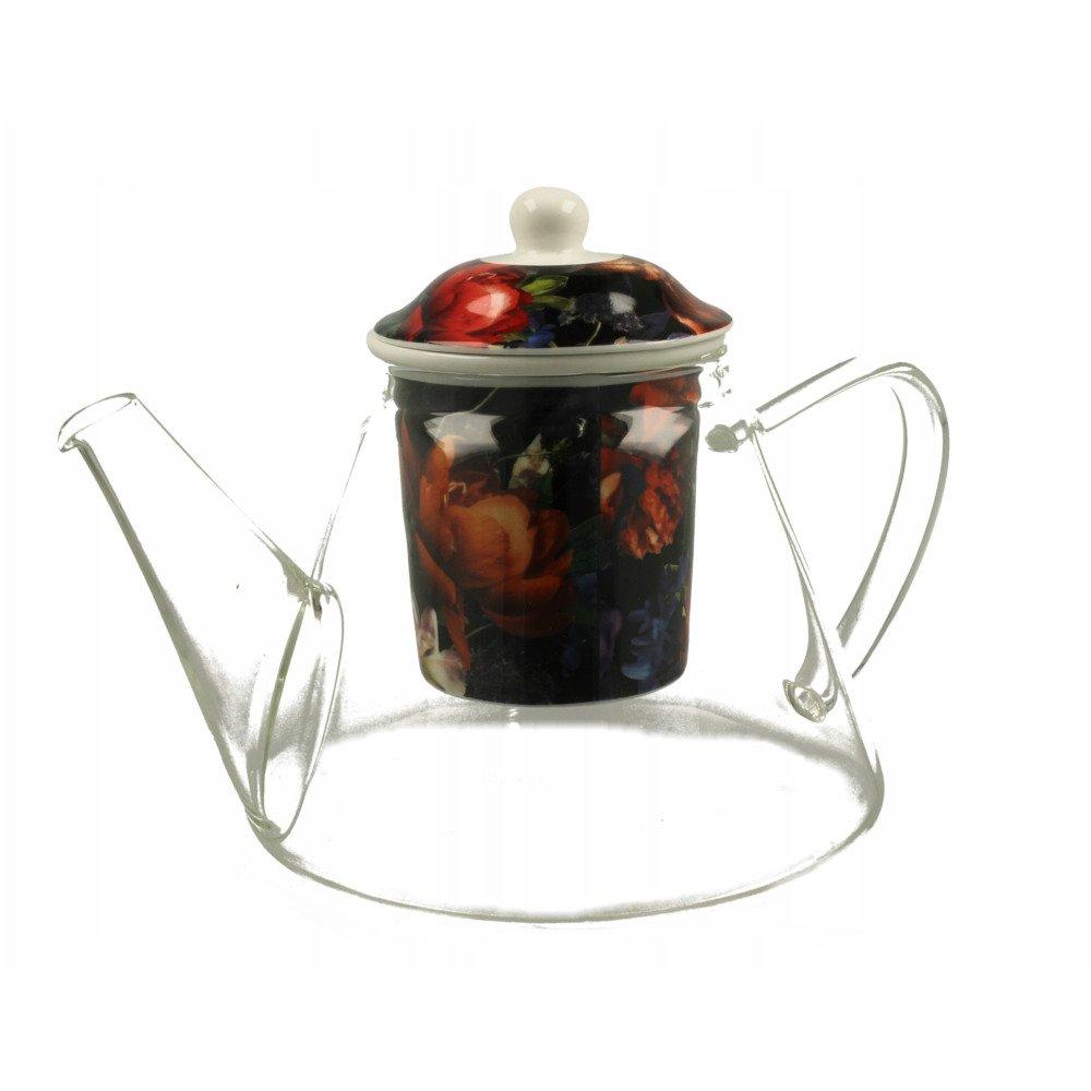 """Ceainic de Sticla cu infuzor ceramic """"Dark Flowers"""" 1.2L"""