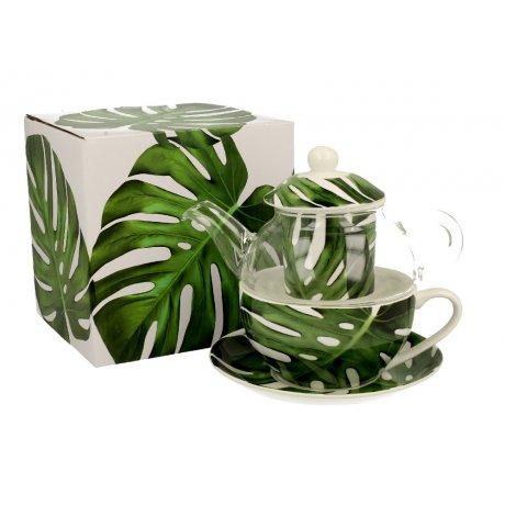 "Ceainic cu cana Tea for one colectia ""Monstera"""