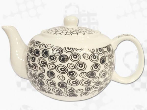 """Ceainic din Portelan colectia Japoneza """"Cercuri Negre"""""""