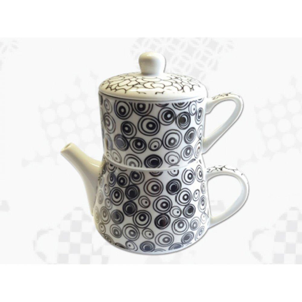 "Tea For One Portelan Colectia Japoneza ""Cercuri Negre"""