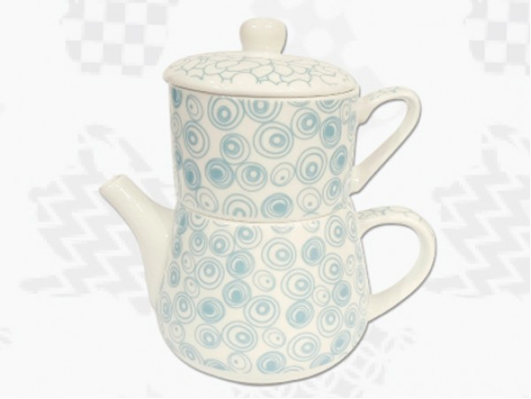 """Tea For One Portelan Colectia Japoneza """"Cercuri Turcoaz"""""""