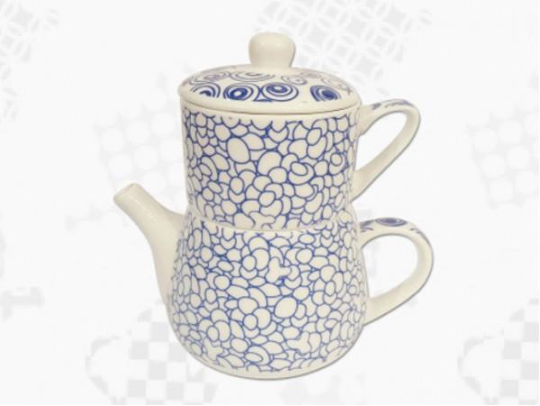 "Tea For One Portelan Colectia Japoneza ""Prundis Albastru"""