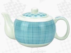 """Ceainic din Portelan colectia Japoneza """"Linii Turcoaz"""""""