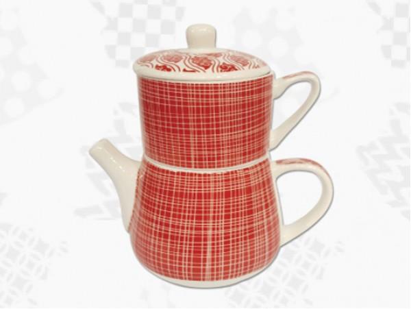 "Tea For One Portelan Colectia Japoneza ""Linii Rosii"""