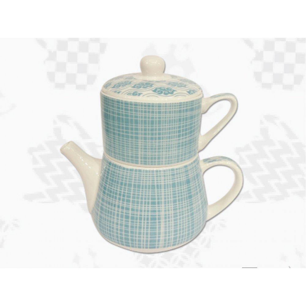 "Tea For One Portelan Colectia Japoneza ""Linii Turcoaz"""