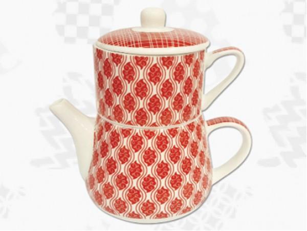 "Tea For One Portelan Colectia Japoneza ""Nori Rosii"""