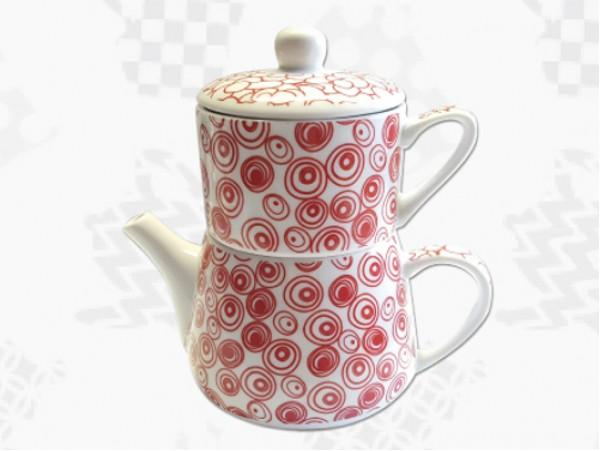 """Tea For One Portelan Colectia Japoneza """"Cercuri Rosii"""""""