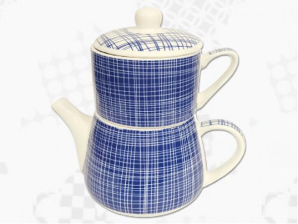 "Tea For One Portelan Colectia Japoneza ""Denim Albastru"""