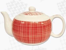 "Ceainic din Portelan colectia Japoneza ""Denim Rosu"""