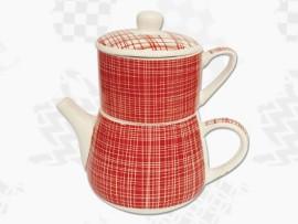 "Tea For One Portelan Colectia Japoneza ""Denim Rosu"""