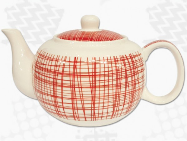 """Ceainic din Portelan colectia Japoneza """"Dungi Rosii"""""""