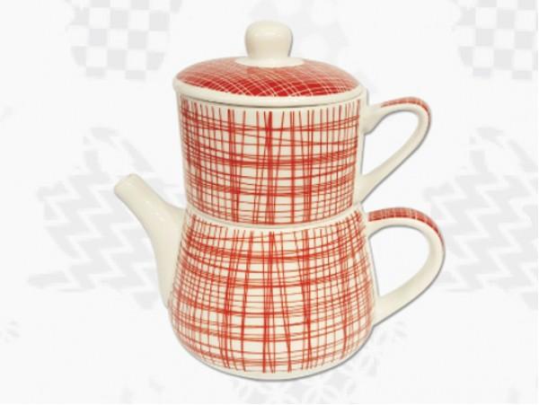 "Tea For One Portelan Colectia Japoneza ""Dungi Rosii"""