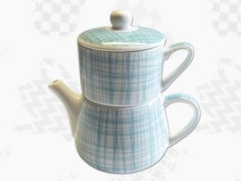 "Tea For One Portelan Colectia Japoneza ""Dungi Turcoaz"""