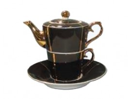 "Ceainic cu cana Tea for One colectia ""Black and Gold Lines"" Gold Collection"