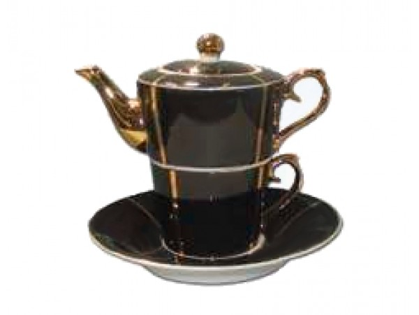 """Ceainic cu cana Tea for One colectia """"Black and Gold Lines"""" Gold Collection"""