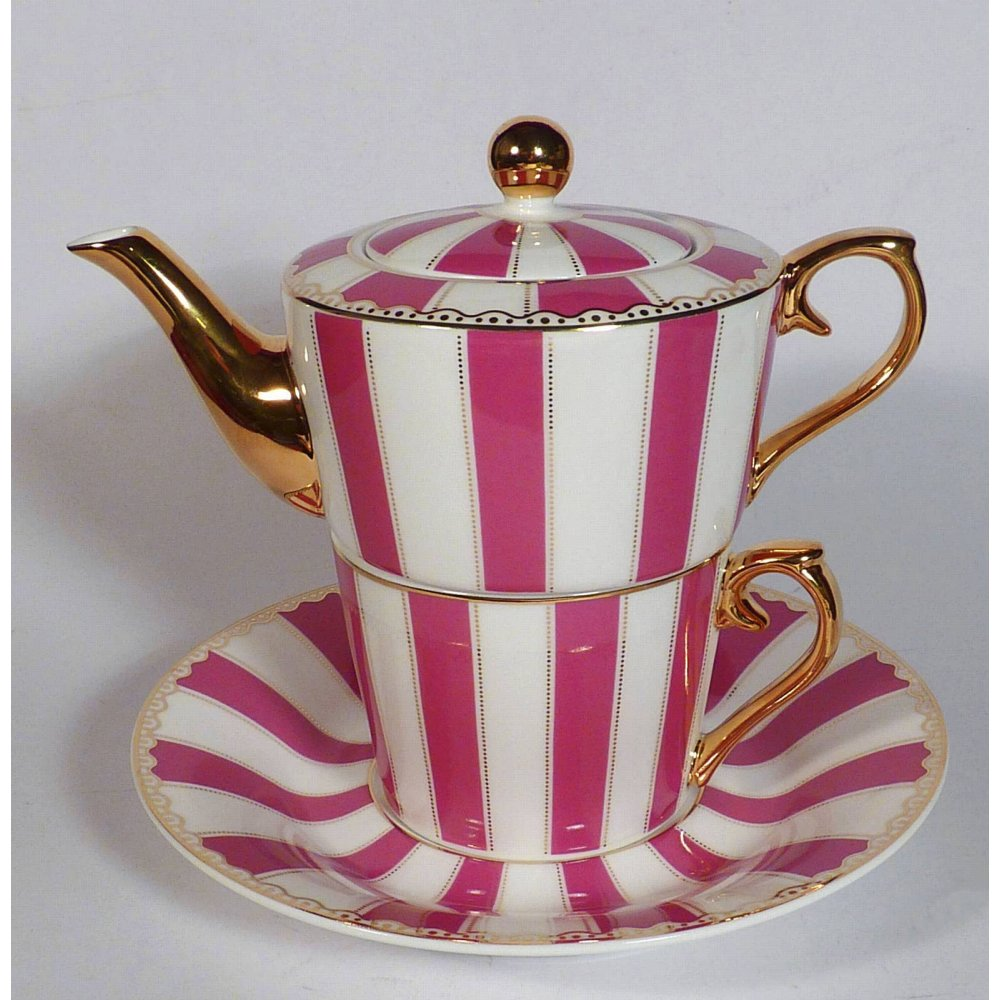 "Ceainic cu cana Tea for One colectia ""Pink stripes"" Gold Collection"