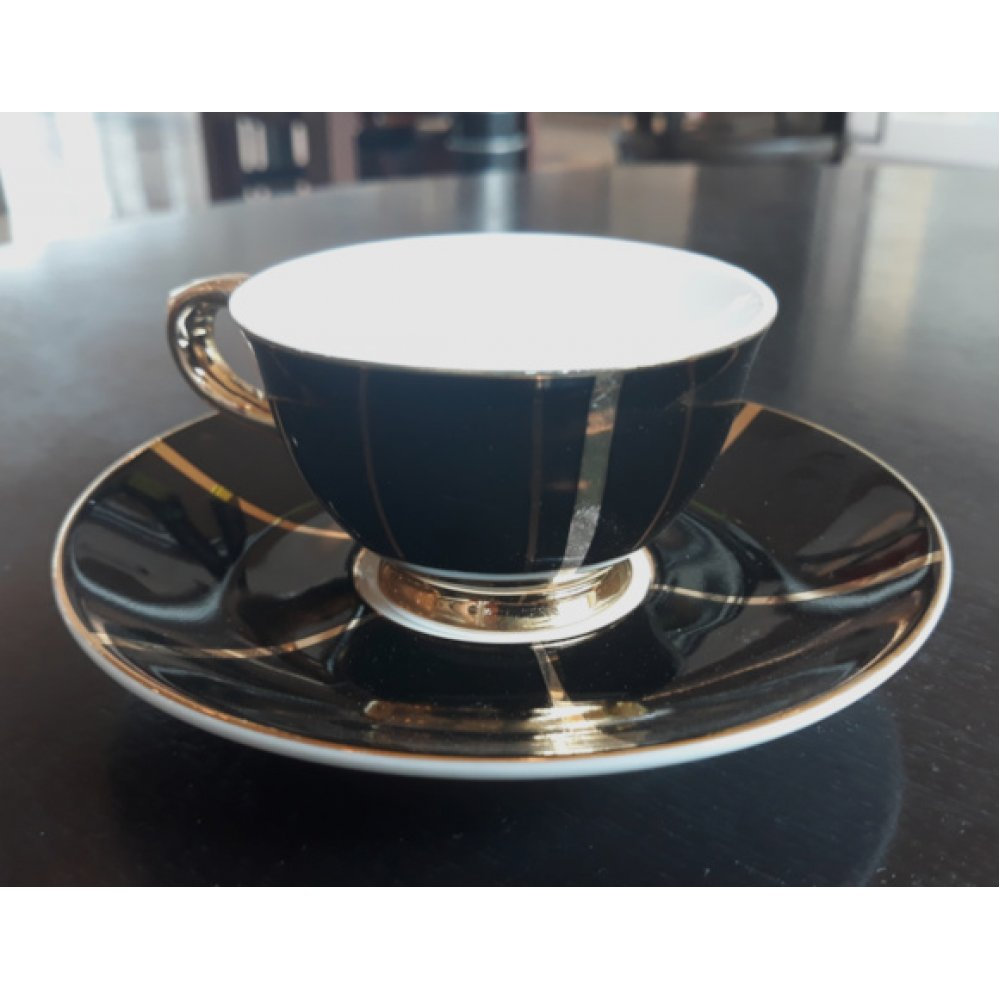 """Ceasca espresso colectia """"Black and Gold Lines"""" Gold Collection"""
