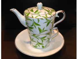 """Ceainic cu cana Tea for One colectia """"Green Tea Leaves"""" Gold Collection"""