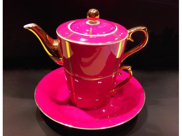 "Ceainic cu cana Tea for One colectia ""La vie en rose"" Gold Collection"