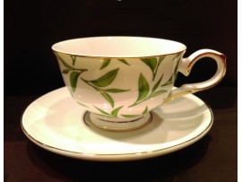 "Ceasca cu farfurie colectia ""Green Tea Leaves"" Gold Collection"