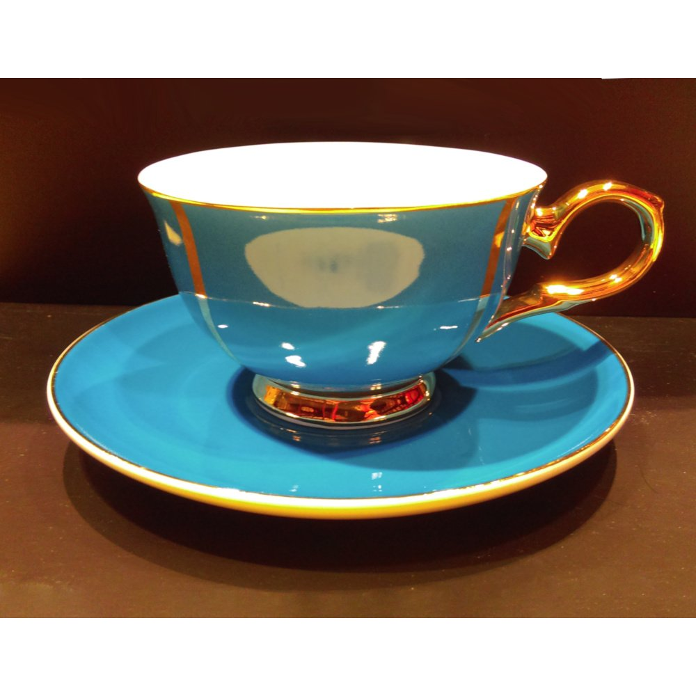 """Ceasca cu farfurie colectia """"Blue and Gold Lines"""" Gold Collection"""