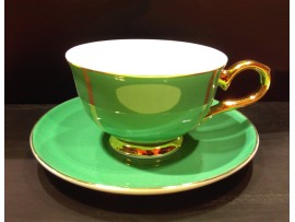 """Ceasca cu farfurie colectia """"Green and Gold Lines"""" Gold Collection"""