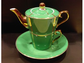 """Ceainic cu cana Tea for One colectia """"Green and Gold Lines"""" Gold Collection"""