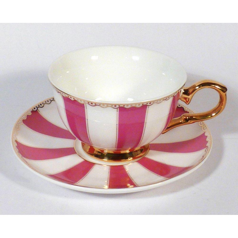 "Ceasca cu farfurie colectia ""Pink Stripes"" Gold Collection"