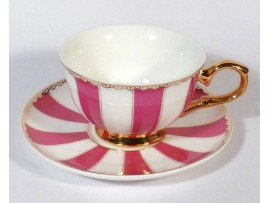 "Ceasca cu farfurie colectia ""Pink Stripes"" Gold Collection"