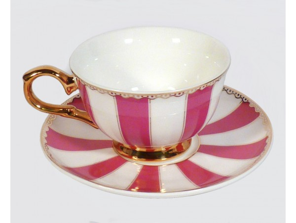 "Ceasca espresso colectia ""Pink Stripes"" Gold Collection"