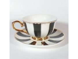 """Ceasca cu farfurie colectia """"Black Stripes"""" Gold Collection"""