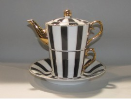 """Ceainic cu cana Tea for One colectia """"Black Stripes"""" Gold Collection"""