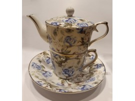 "Ceainic cu cana Tea for One colectia ""Blue Roses"" Gold Collection"