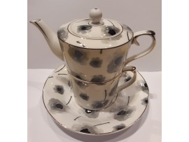 """Ceainic cu cana Tea for One colectia """"Black Poppy"""" Gold Collection"""