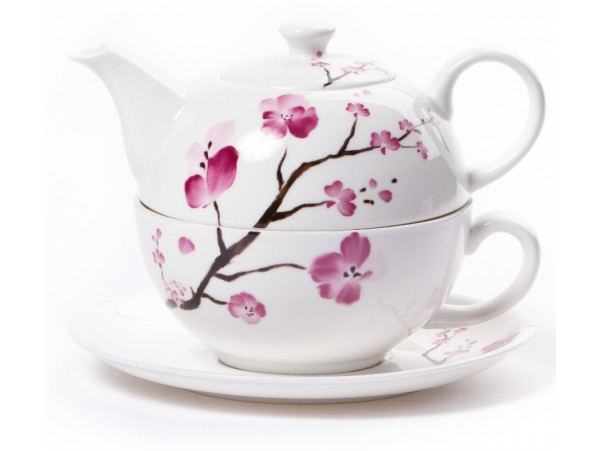 """Ceainic cu cana Tea for One colectia """"Cherry Blossom"""""""