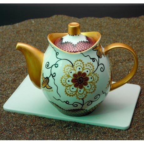 Ceainic Portelan Pictat Manual cu Floare