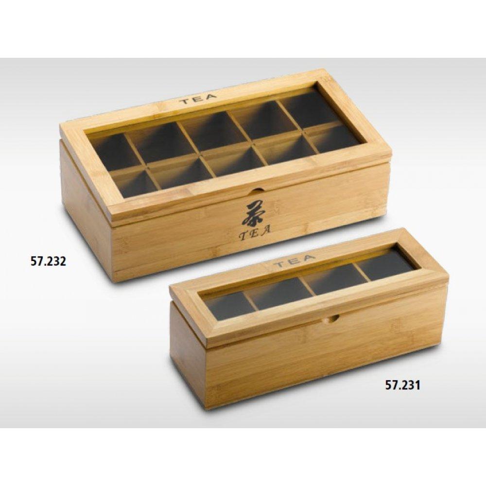 Cutie pentru Ceai din lemn de bambus cu 4 compartimente