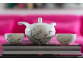 """Set pentru ceai cu ceainic si doua cupe """"Cherry Blossoms"""""""