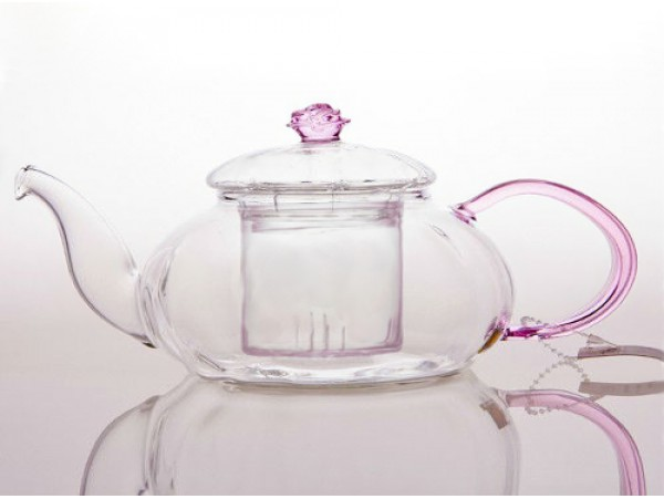 Ceainic Sticla Termorezistenta Pink Rose