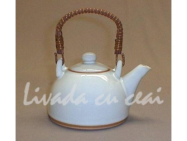 Ceainic Japonez din Ceramica Celadon alb