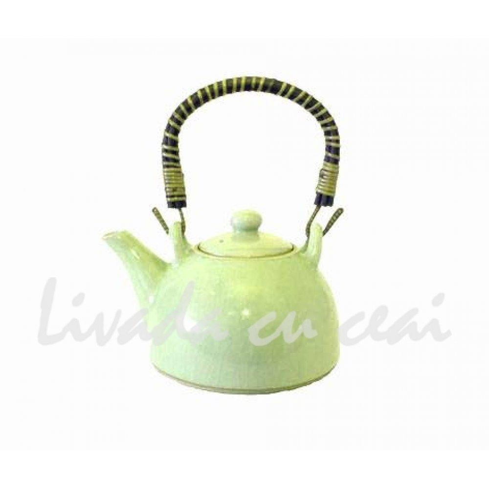 Ceainic Japonez din Ceramica Celadon verde