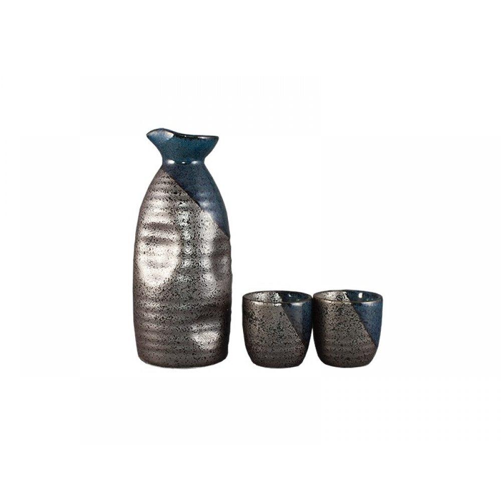 Set pentru sake lucrat si pictat manual in gri cu albastru