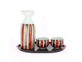 Set ceramic japonez pentru sake in culorile Razboiului Genpei