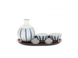 Set ceramic japonez pentru sake cu dungi albastre