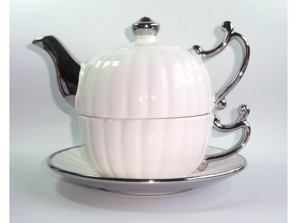 Tea for One Colectia Alb cu Argintiu