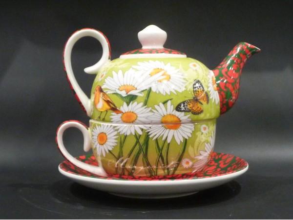 Tea for One Colectia Pajiste Verde cu Margine Decorativa