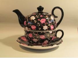 Tea For One Colectia Portelan Negru cu Trandafiri
