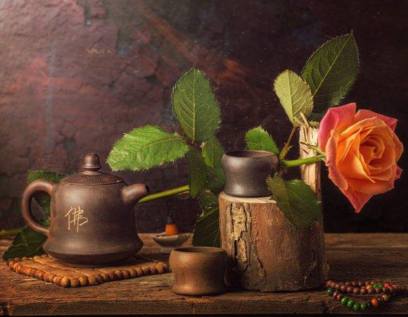 Set japonez ceramic pentru ceai si trandafir