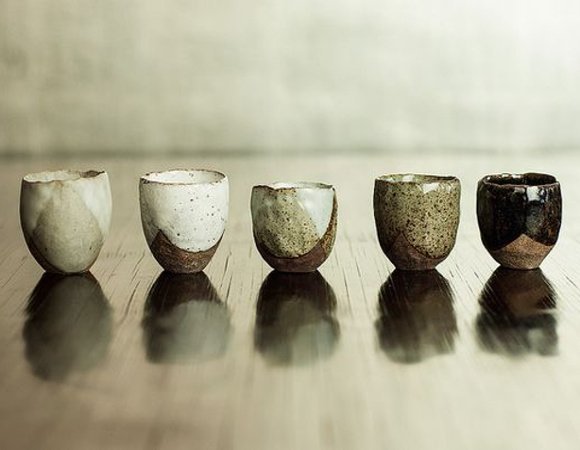 Cupe cu ceainic si tavi din ceramica lucrata manual